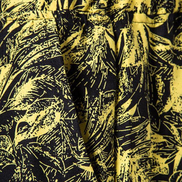 Men casual swimming shorts multi pocket beach sports shorts Yellow,3XL