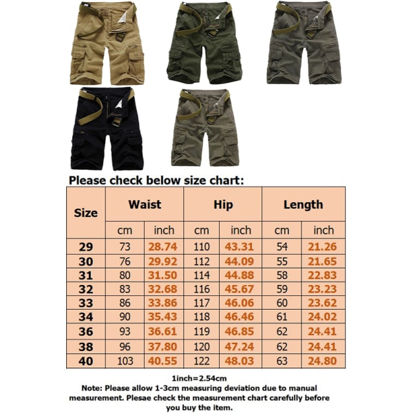 Men casual workwear shorts are comfortable  wear-resistant Army Green,36