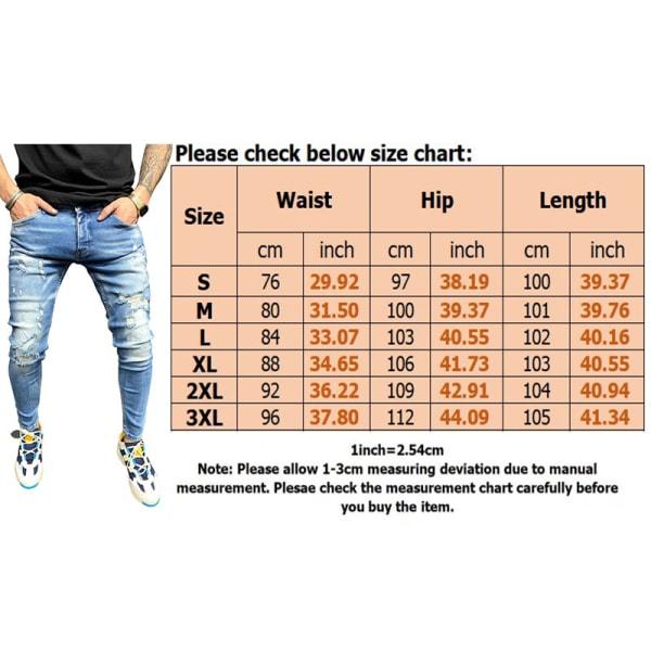 Men Classic Casual Distressed Distressed Jeans Stretch Slim Fit Blue,L