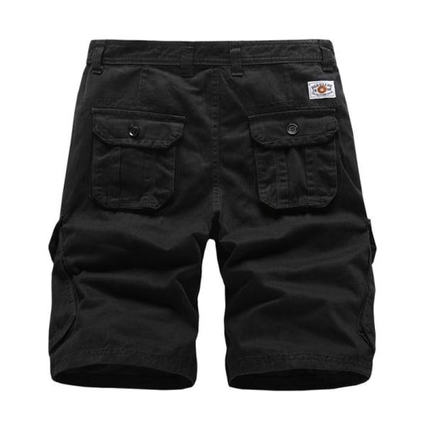 Men Cotton Lightweight Workwear Beach Shorts with Multi Pockets Black,40