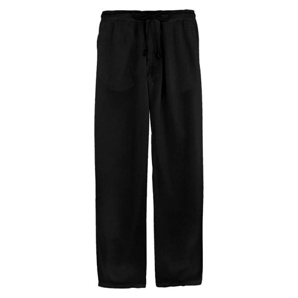 Men Cotton Linen Loose Pants Beach Holiday Drawstring Pants Black,L