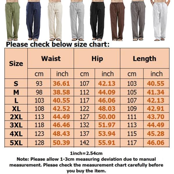 Men cotton linen pants drawstring loose pocket trousers Blue M