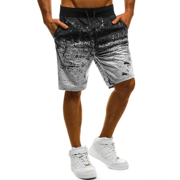 Men graffiti print sports shorts comfortable casual beach shorts Light Gray,XL