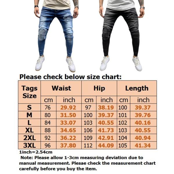 Men Jeans Retro Pleated Slim Fit Ripped Pants Black,M