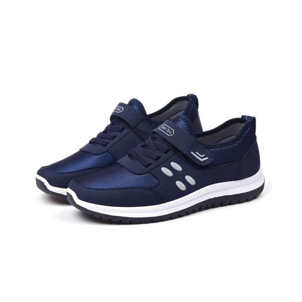 Men nonslip breathable velcro light sports shoes Blue,43