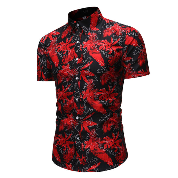 Men Printed Casual Short Sleeve Loose Beach Holiday Button Black Red,M