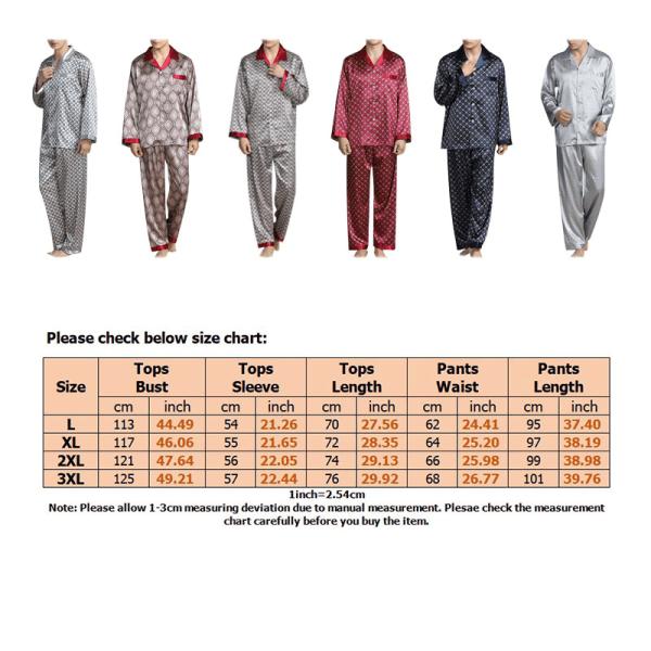Men Pyjamas Set Checked or plain Tshirt Lounge Bottoms Nightwear Gray,3XL