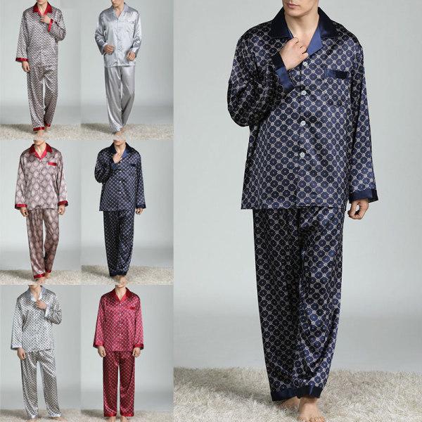 Men Pyjamas Set Checked or plain Tshirt Lounge Bottoms Nightwear Dark Red,XXL