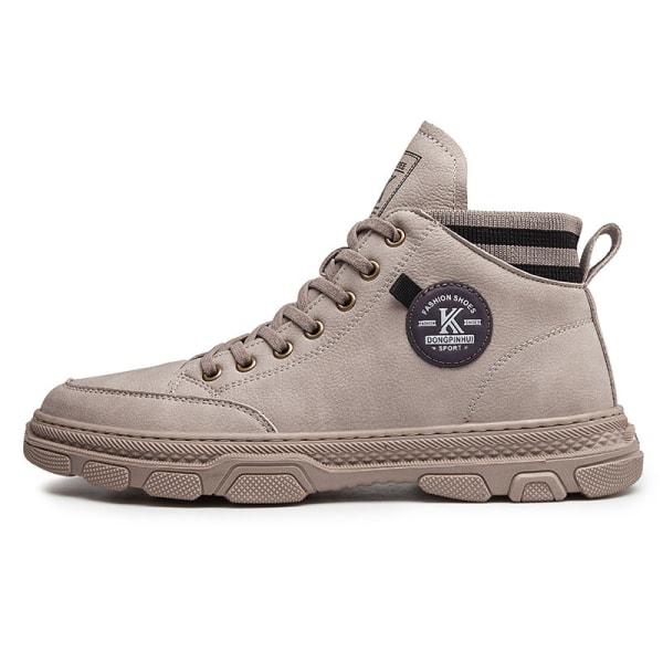 Men's autumn ankle boots ankle boots casual shoes laces Gray,39