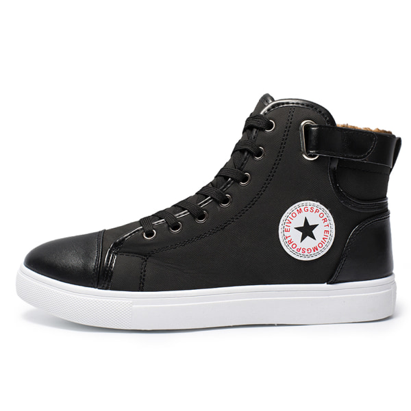 Men's breathable high-top canvas shoes comfortable sneakers Black,43