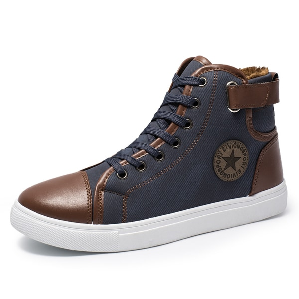 Men's breathable high-top canvas shoes comfortable sneakers Blue,45
