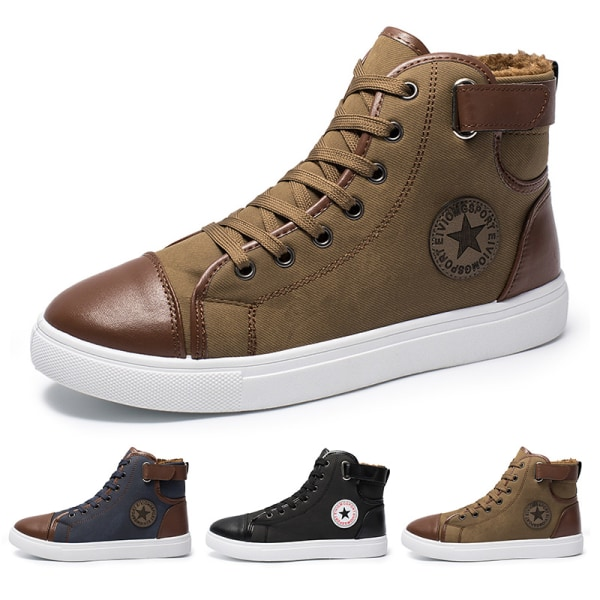Men's breathable high-top canvas shoes comfortable sneakers Blue,46