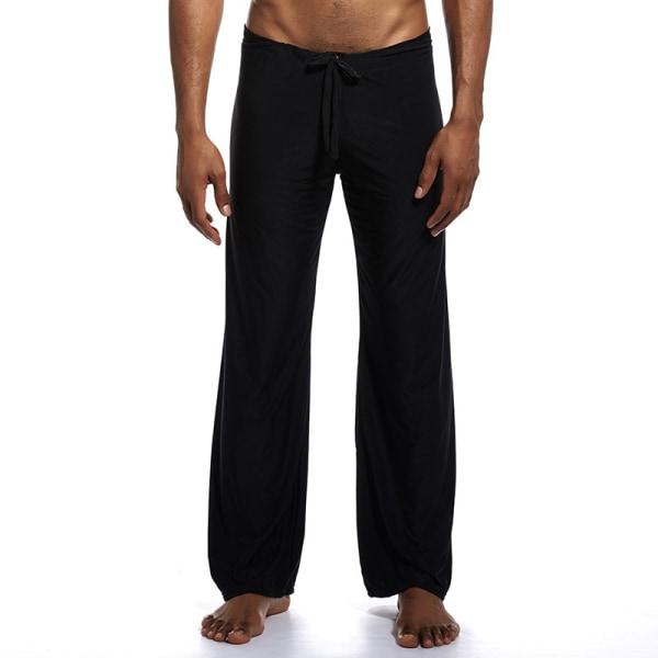 Men's Casual Ice Silk Yoga Loose Pants Pajama Trousers Homewear Black,XL