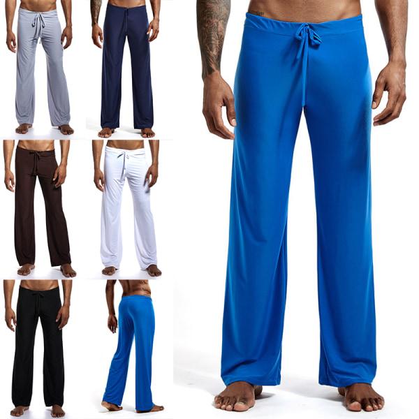 Men's Casual Ice Silk Yoga Loose Pants Pajama Trousers Homewear Coffee,XL