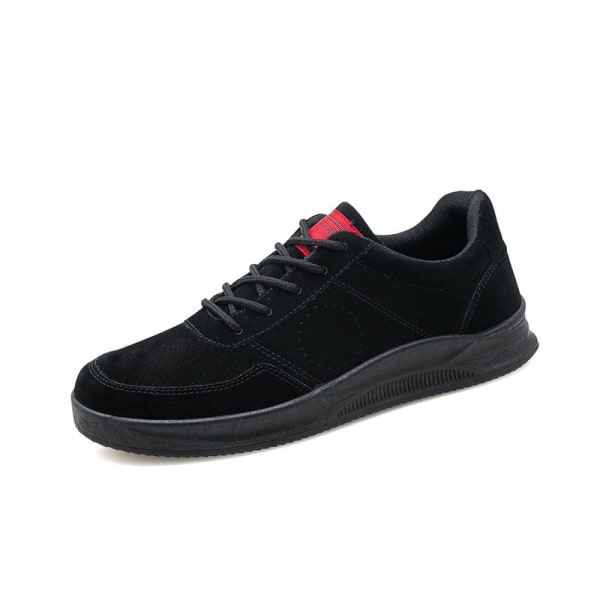 Men's casual running shoes solid color lace-up sneakers Black,39