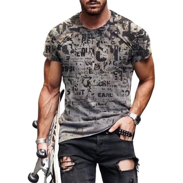 Men's Casual T-Shirt Fashion Print Round Neck Short Sleeve Top Gray,M
