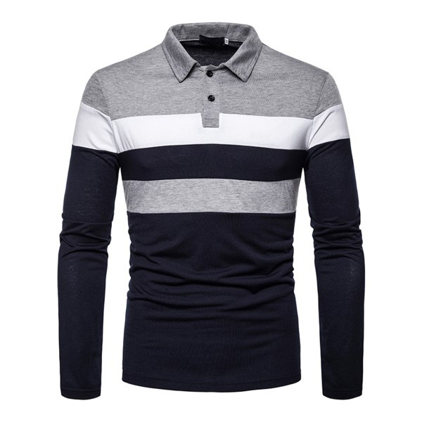 Men's Contrasting Color Stitching Long Sleeve Polo Shirt Dark blue,S