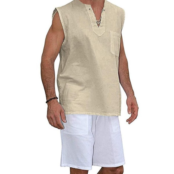Men'S Cotton Linen Vest Casual  Sleeveless Pullover Blouse Khaki,M