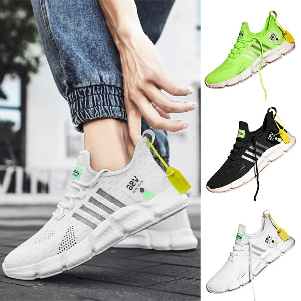 Men's Fashion Breathable Casual Shoes Mesh Striped Sneakers White,40