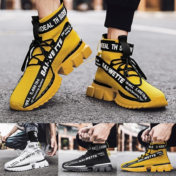 Men's fashion high top casual shoes outdoor training shoes Yellow,40