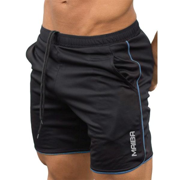 Men's Fitness Sports Shorts Football Pants Gym Workout Running Black Blue,L
