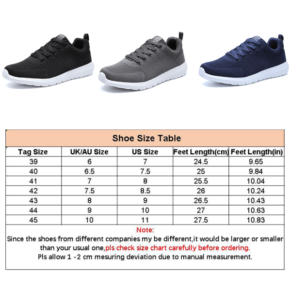 Men's flat-bottom lace-up sneakers comfortable casual shoes Blue,42