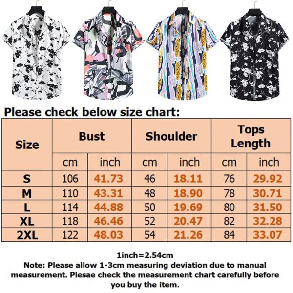 Men's Hawaii Short Sleeve Shirt Summer Beach Button T-Shirt Top Yellow,XXL