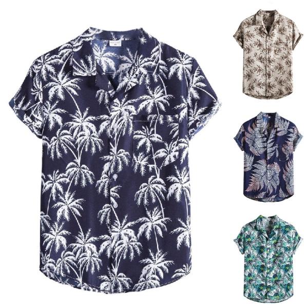 Men's Hawaiian Button T-shirt Tropical Beach Casual Shirt Navy Blue,3XL