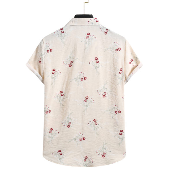 Men's Hawaiian Shirt Casual Floral Short Sleeve Vacation T-Shirt Beige,XL