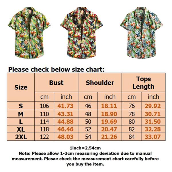Men's Hawaiian Short Sleeve Shirt Top Summer Beach T-shirt Yellow,XXL