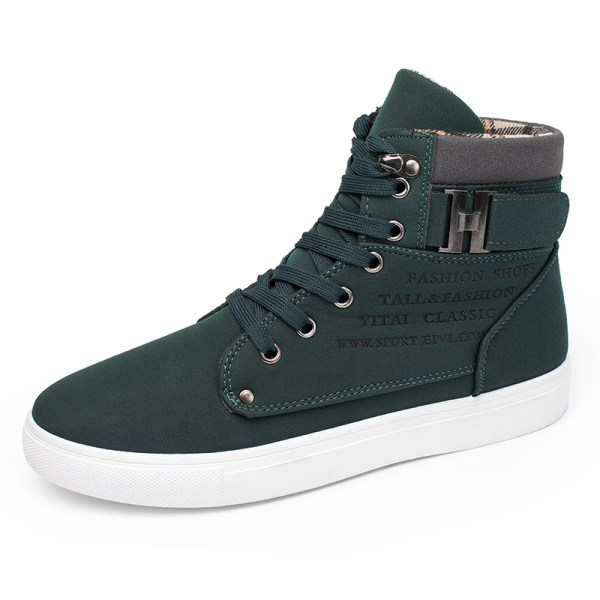 Men's high-top sneakers solid color lace-up casual shoes Green,46