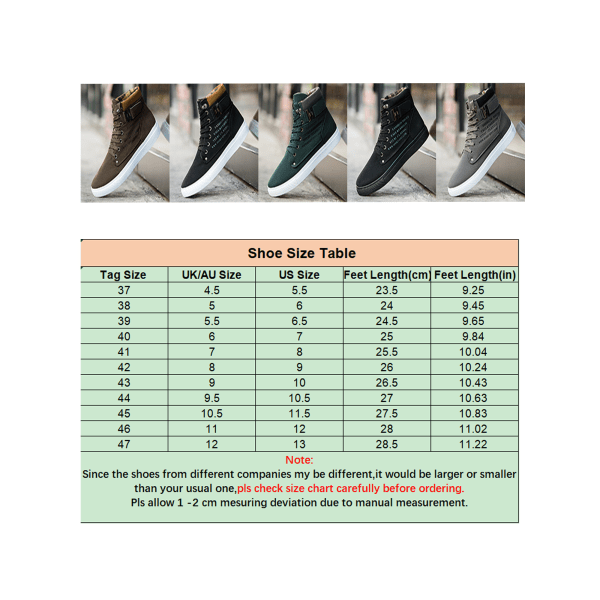 Men's high-top sneakers solid color lace-up casual shoes Khaki ,46