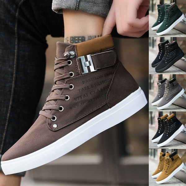 Men's high-top sneakers solid color lace-up casual shoes Khaki ,47