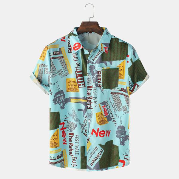 Men's Letter Print Casual Shirt Short Sleeve Loose Lapel Button Light Blue,M