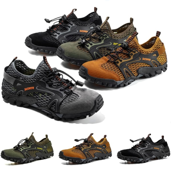 Men's non-slip and quick-drying mesh upstream shoes casual shoes Brown,45