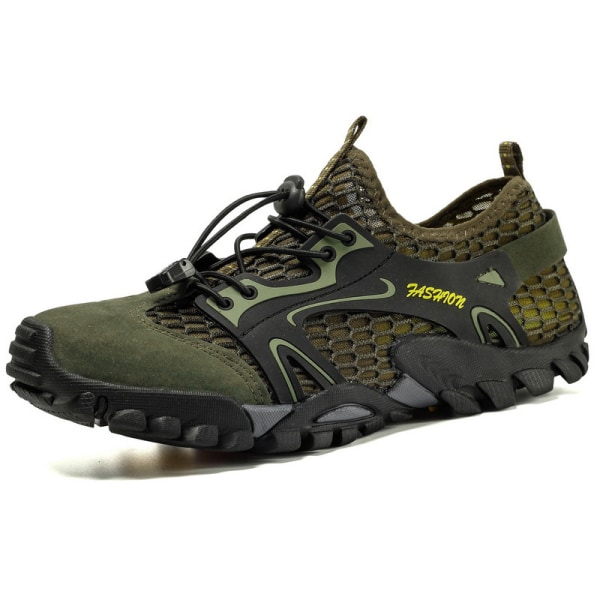 Men's non-slip and quick-drying mesh upstream shoes casual shoes Army Green,40