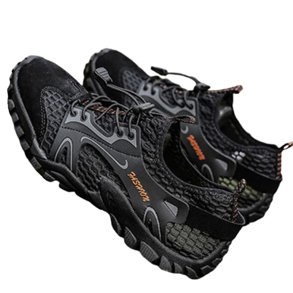 Men's non-slip and quick-drying mesh upstream shoes casual shoes Black,45