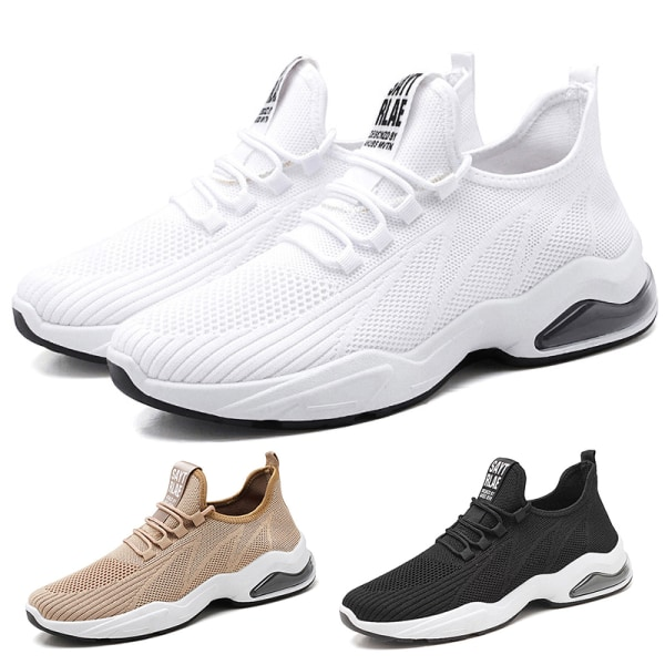 Men's outdoor air cushion running shoes casual sports shoes Black,44