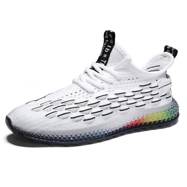 Men's outdoor leisure jogging shoes fitness training shoes White Plus Black,44