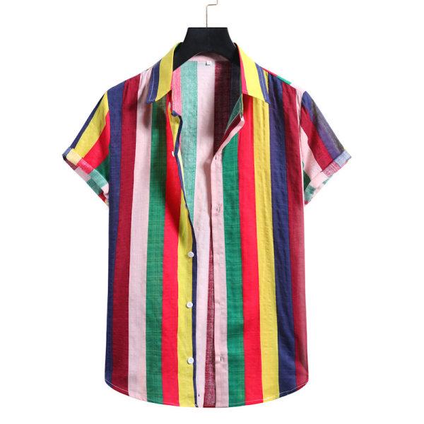 Men's Short Sleeve Shirt Summer Beach Hawaii Casual T-Shirt Top Blue,S