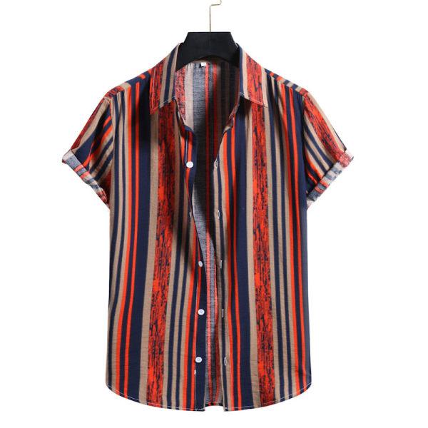 Men's Short Sleeve Shirt Summer Beach Hawaii Casual T-Shirt Top Orange,L