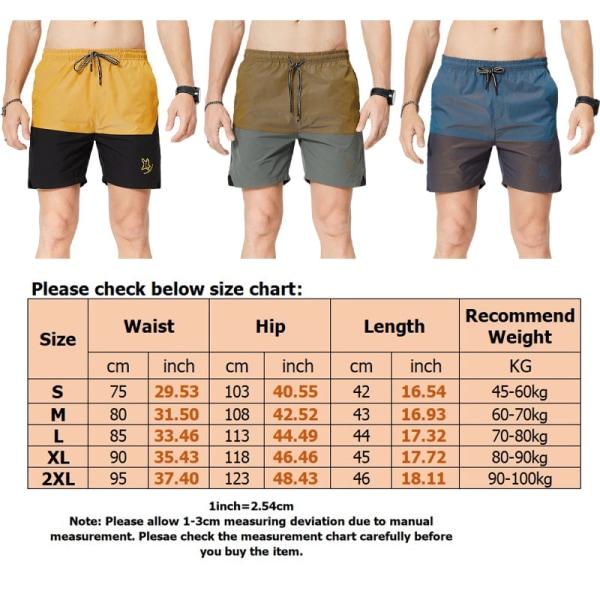 Men's Sports Shorts Training Stitching Shorts Workout Fitne Yellow,S