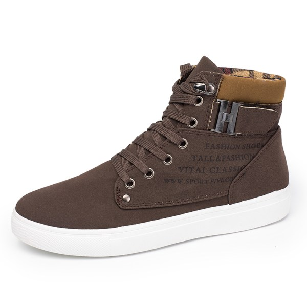 Men's trendy sneakers solid color lace-up training shoes Brown,44
