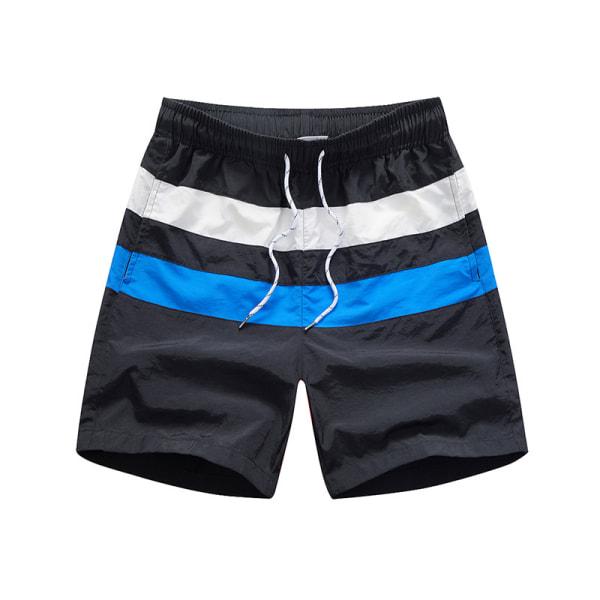 Men Shorts Stitching Swim Trunks Striped Surfing Beach Shorts Black,M