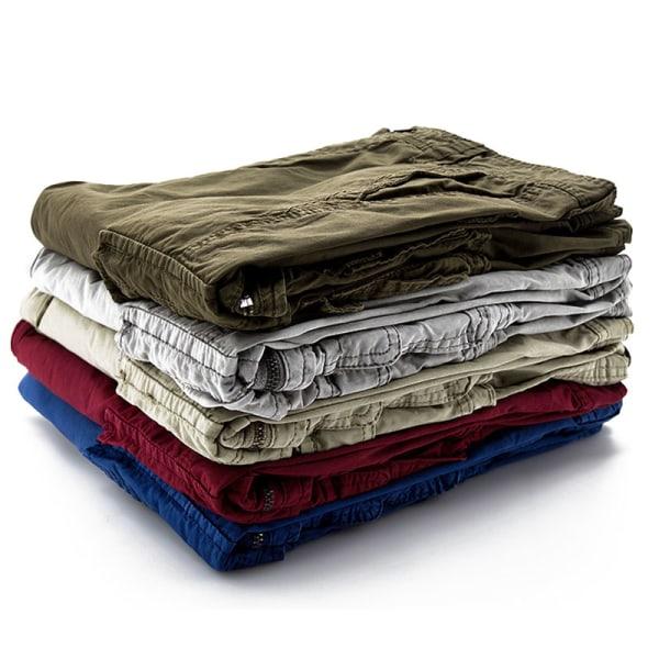 Men Solid Color Casual Workwear Shorts Large Pocket Beach Pants Black,31