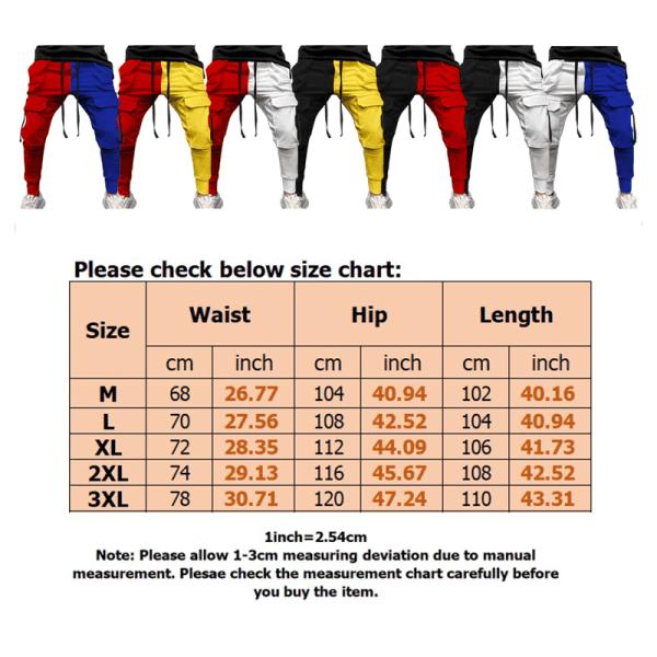 Men stitching colorful casual sports pants drawstring Black Red,M