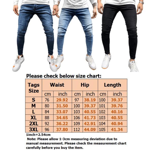 Men Stretch Jeans Basic Pants 8 Colors Available Black,3XL