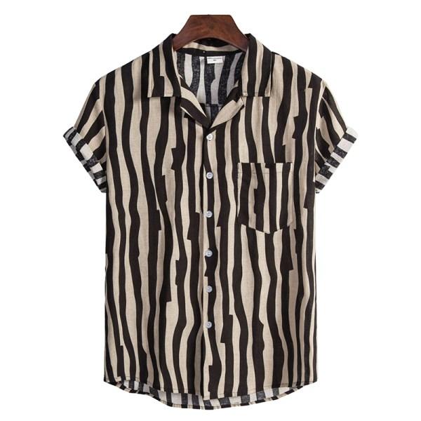 Men Striped Cotton Linen Breathable Loose Short Sleeve Shirt Black,L