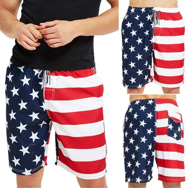 Men Summer Vacation Beach Shorts American Flag Swimsuit Shorts Blue,4XL