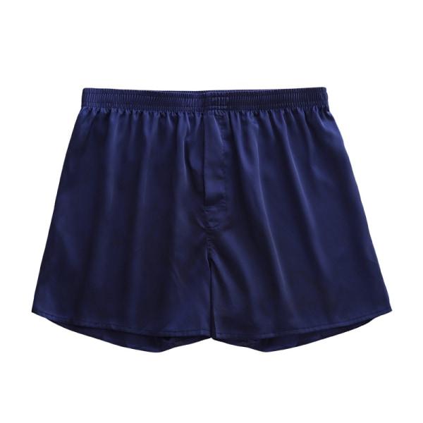 Men Unmarked Ice Silk Loose Shorts Comfortable Home Pajama Pants Royal Blue,XL